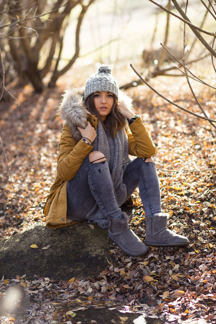 WINTER WEATHER - Lovely Pepa by Alexandra. Furry parka, chunky hat and sheepskin boots. Love the greys, would pair with a different colour parka.