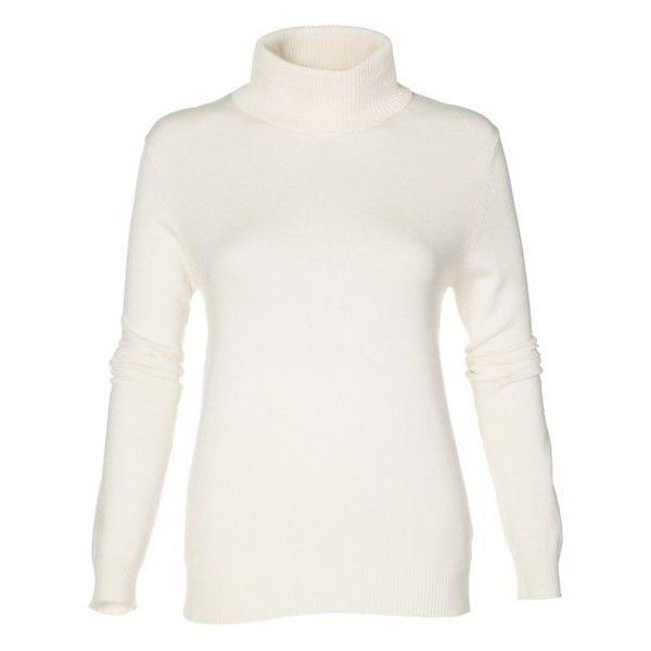 Polo Neck Jumper (€78) ❤ liked on Polyvore featuring tops, sweaters, rib knit turtleneck sweater, turtle neck jumper, white jumper, polo neck jumper and white turtleneck sweater