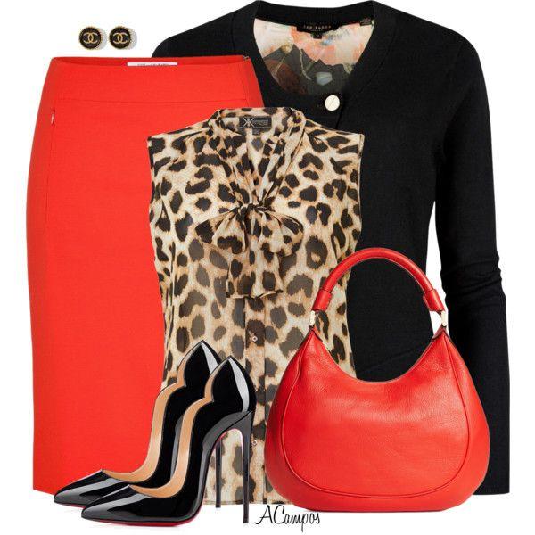 """Animal Print & Orange"" by anna-campos on Polyvore orange coral skirt animal print cheetah top black blazer sweater cardigan"