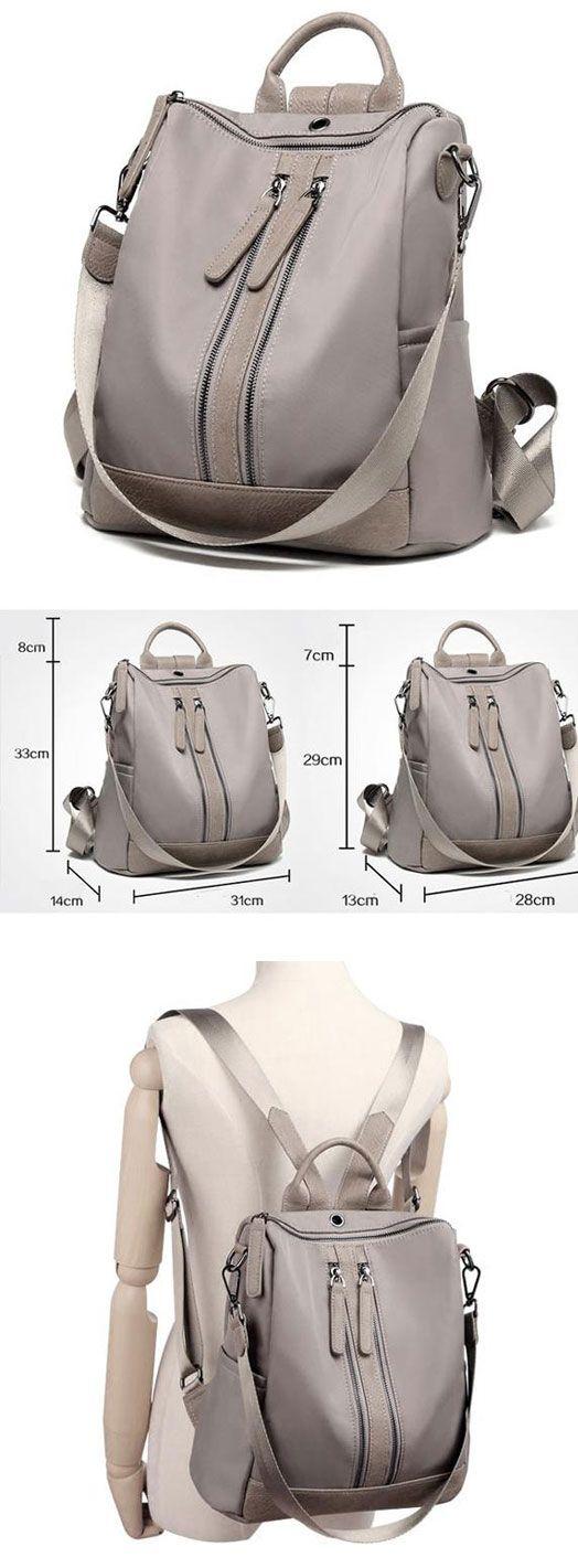 Elegant Waterproof Double Zipper PU Multi-function Handbag Large School Backpack for big sale! #backpack #Bag #double #zipper #cute