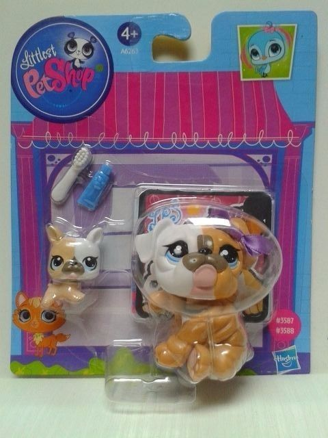 Littlest Pet Shop LPS Mommy and Baby Bulldog #3587 #3588 NEW