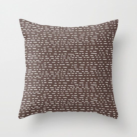 Brown Pillow Cover, Organic Pillow, Neutral Pillow Cover, Dashed Lines Pillow, Minimalist Pillow Cover, Graphic Handmade Pillow Cover by RiverOakStudio on Etsy https://www.etsy.com/listing/249219952/brown-pillow-cover-organic-pillow