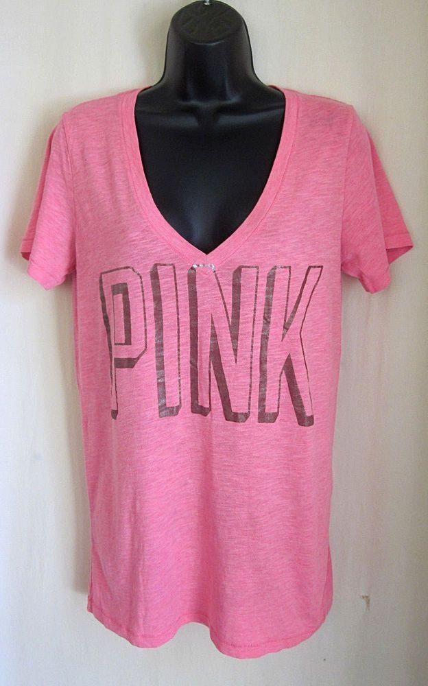 af6a542a420f6 PINK Victoria's Secret Women's Pink V-Neck Short Sleeve T-Shirt L ...