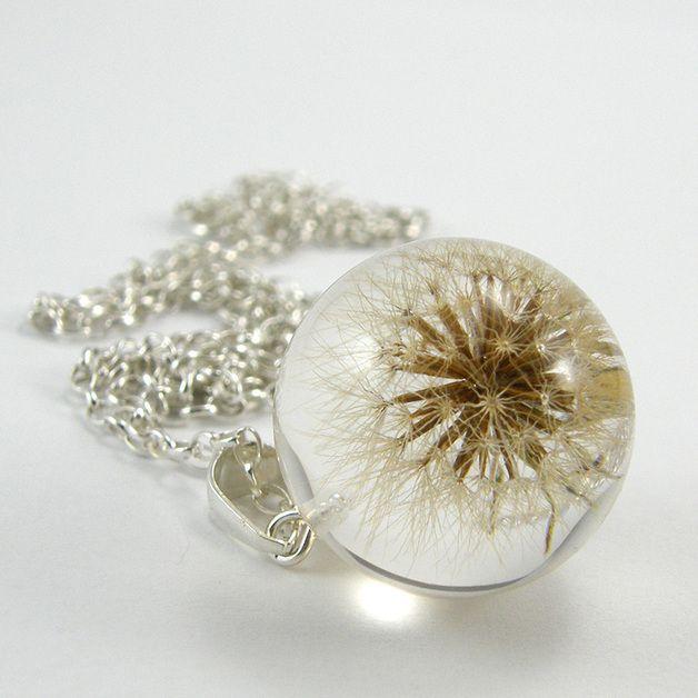 Naszyjnik z dmuchawcem Brąz - żywica i srebro - SylwiaCalus - Biżuteria srebrna