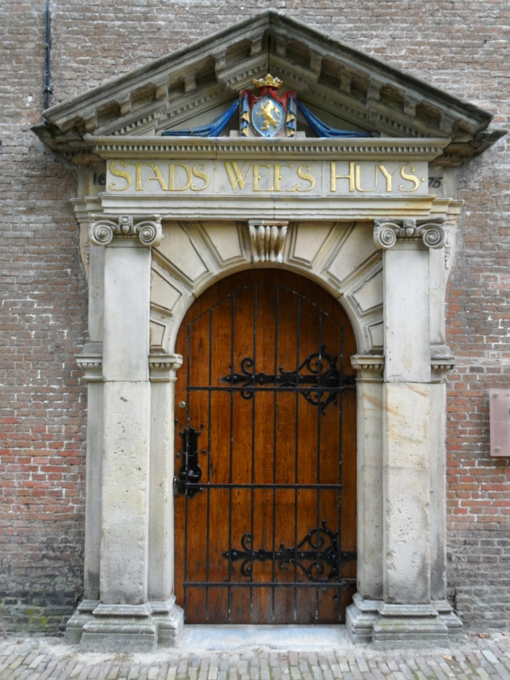 Entrance door of the former Leeuwarder orphanage. Currently the Museum of Natural History.