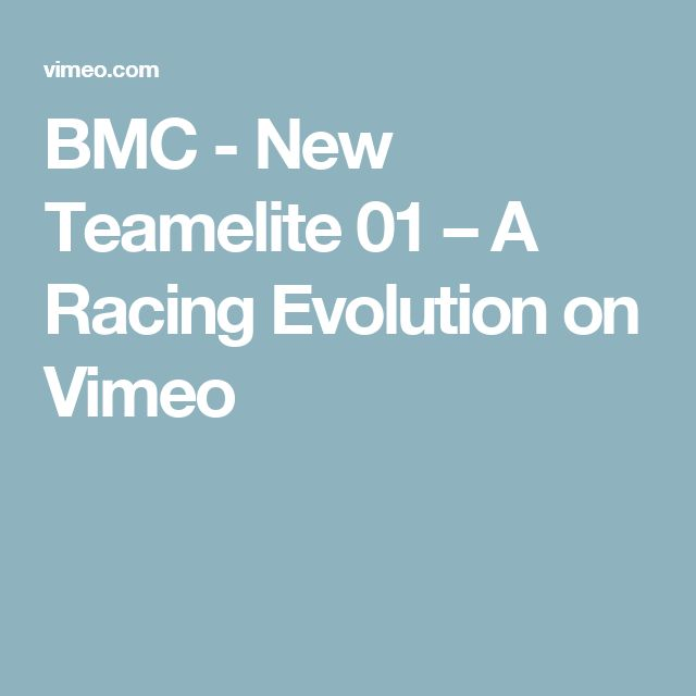 BMC - New Teamelite 01 – A Racing Evolution on Vimeo