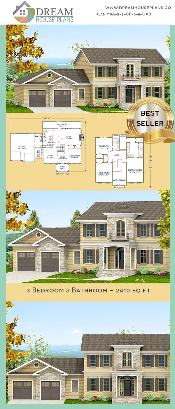 Dream House Plans Popular Southern 3 Bedroom 2410 Sq Ft House Plan With Custom Home Plan Optio Porch House Plans Dream House Plans Open Concept House Plans