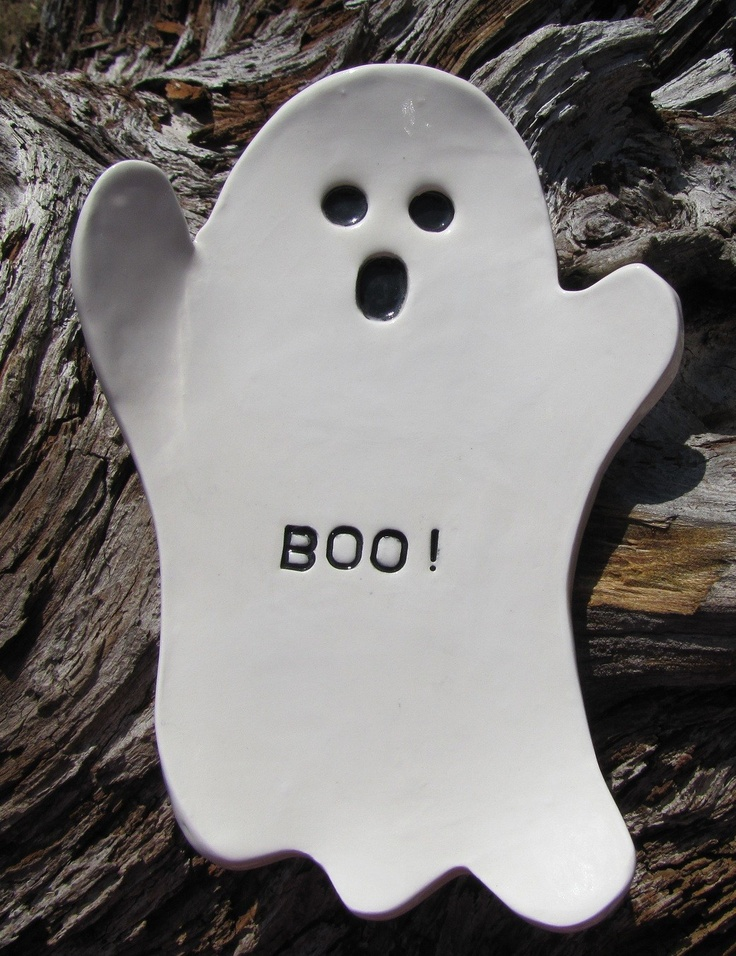 hand formed ghost ceramic spoon rest  halloween dish. $10.00, via Etsy.