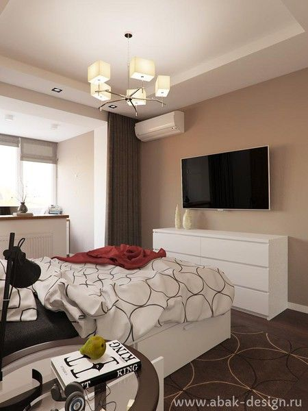 Готовые дизайн-проекты квартир в домах серии П-44Т - Двушка распашонка торцевая - Комната 13,7 м2