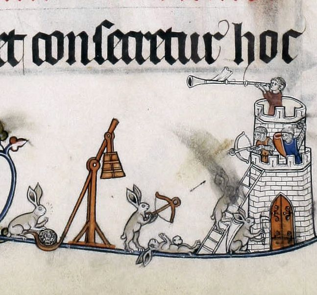 siege rabbits Pontifical of Renaud de Bar, France ca. 1303-1316 Cambridge, Fitzwilliam Museum, MS 298, fol. 41r