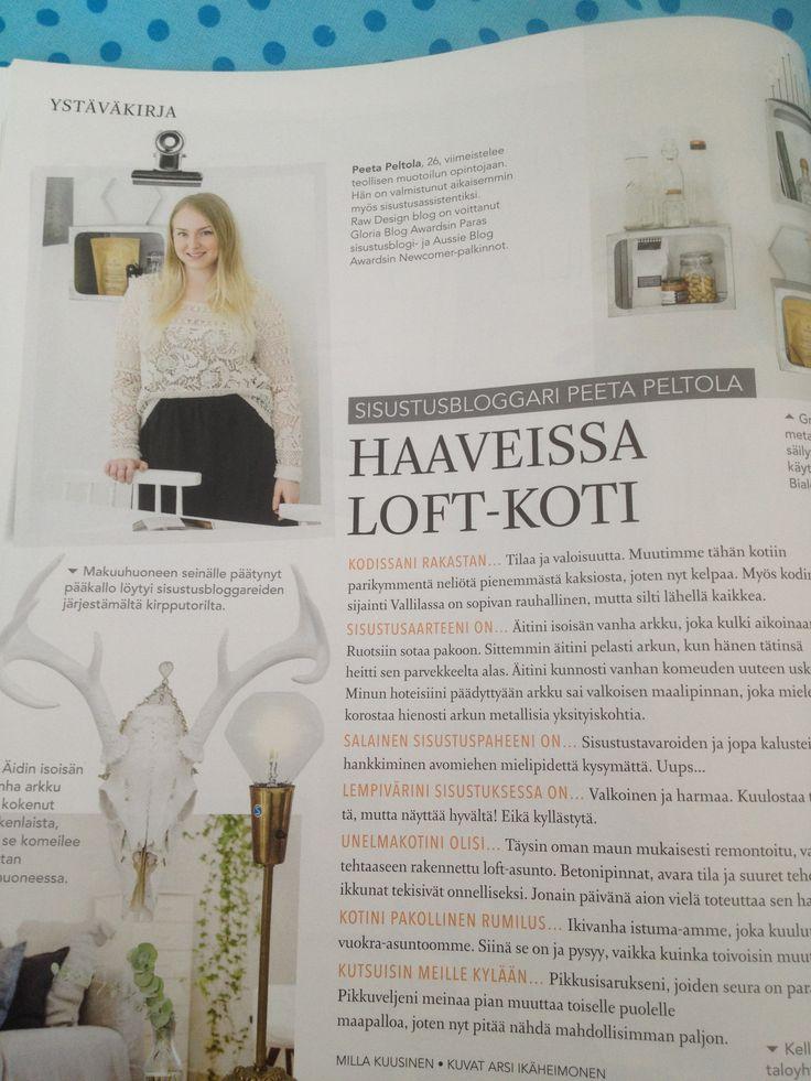 Uusi Koti ja keittiö 6-7 /2014: sivulla 22 ystäväkirjassa sisustusbloggaaja Peeta P. !