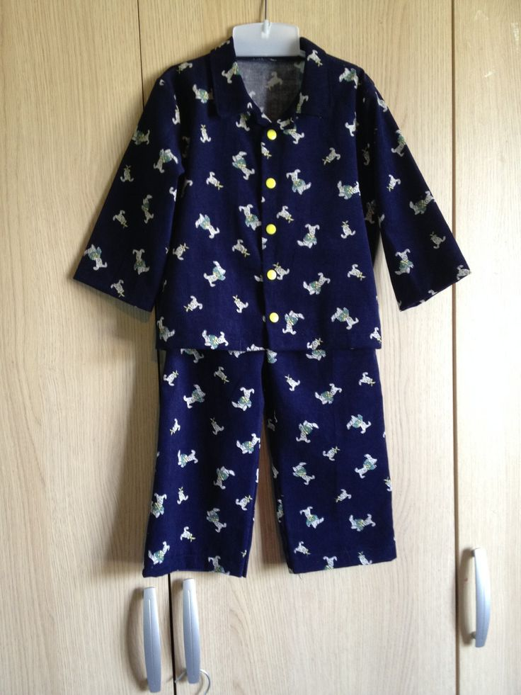 Pyjama garçon en velours bleu marine imprimé chien 3/4 ans. : Mode garçons par l-atelier-de-cissou