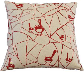 Cushion Cover - Wrens in Red. Buy it online in New Zealand.