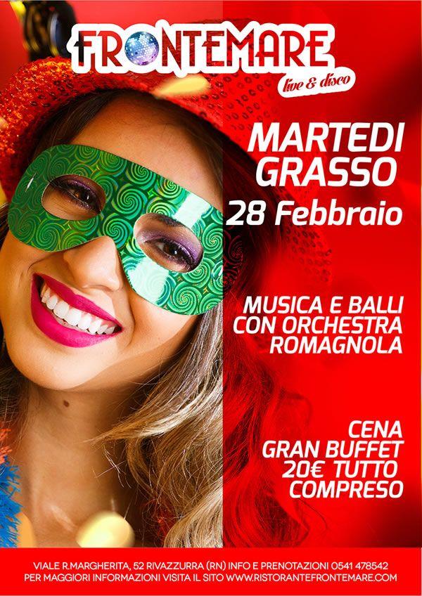 Non mancare alla tradizionale festa del Martedì grasso. Martedì 28 febbraio al Frontemare Rimini si balla con l'orchestra di Franco Dolce Vita.