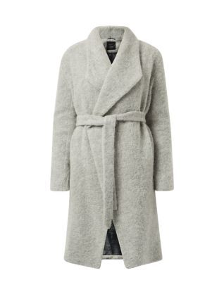 Throw on this Grey Premium Brushed Wrap Front Coat over a suit for instant chic in colder months.