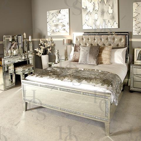 Sparkle Diamond Mirror Bed Mirrored Bedroom Furniture Small