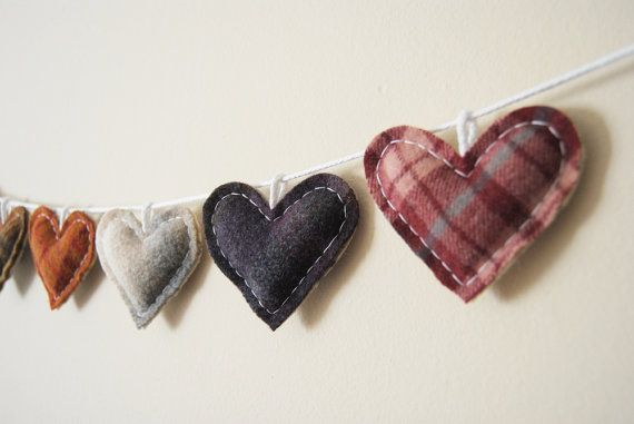 Primitive Heart Garland - Rustic Love Bunting - Country Rustic Wedding Decor on Etsy, $54.00