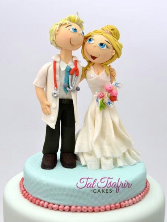 Doctor Bride Groom Wedding Cake Topper