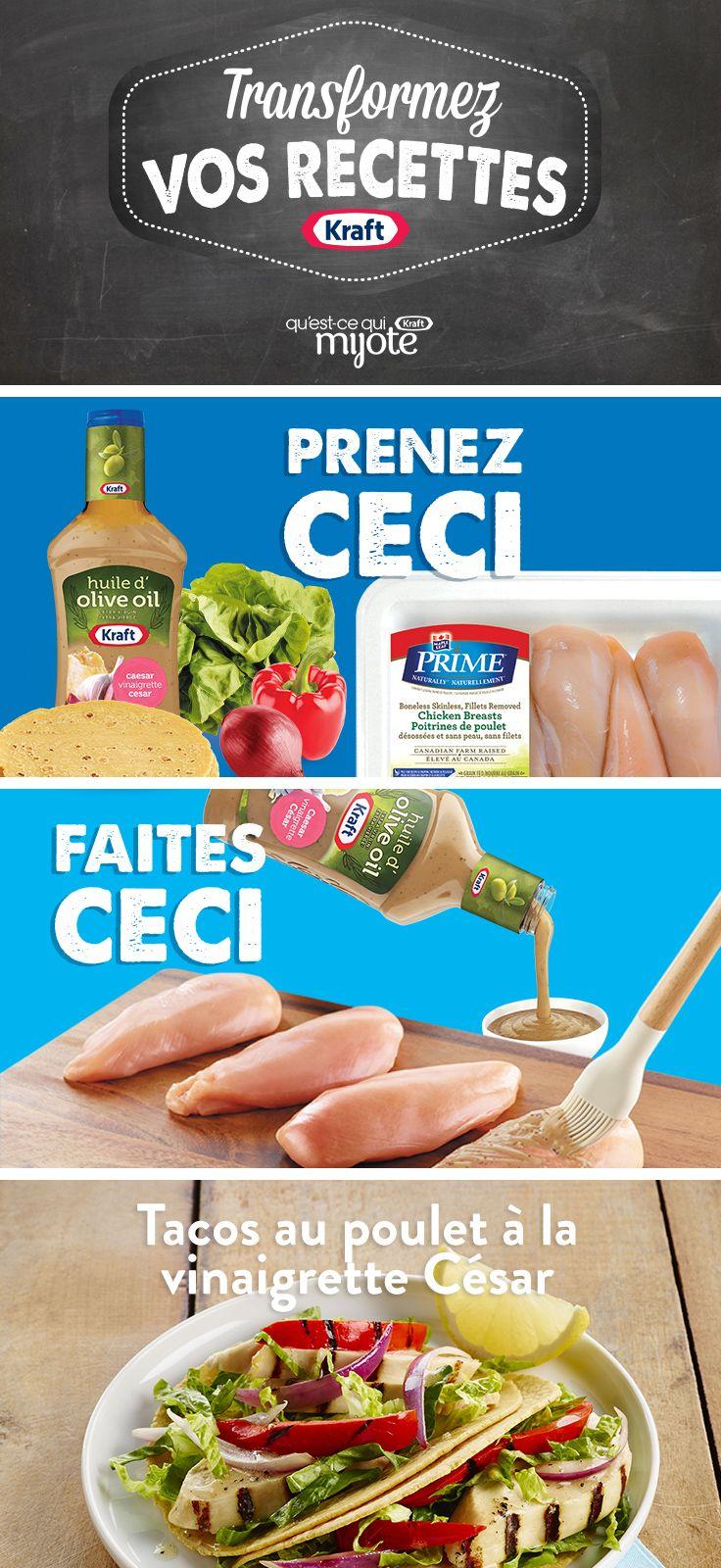 Tacos au poulet à la vinaigrette César #recette