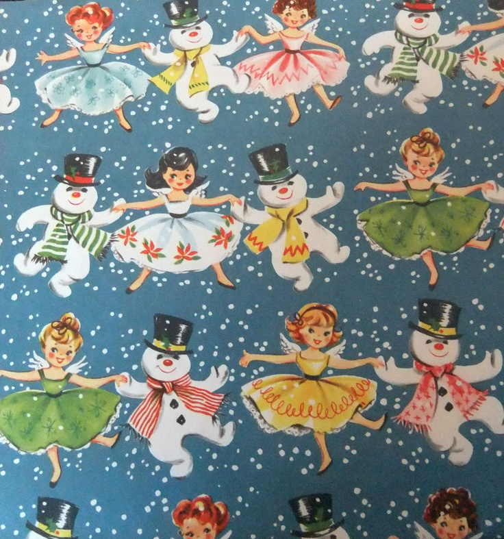Vintage 1950s Christmas Wrapping Paper Snowmen and Angels