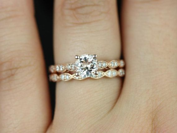 Helena 14kt Rose Gold Round Morganite and Diamond Wedding Set (Other metals and stone options available)