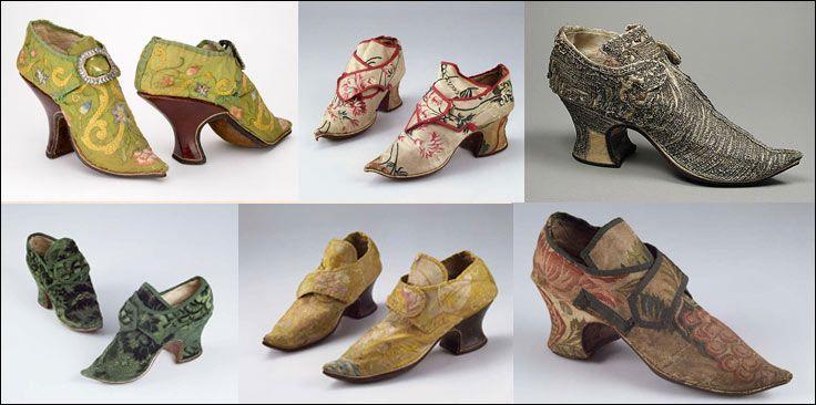 В конце XVIII в. в женской обуви, представленной туфлями на высоких каблуках, возникает строгая классификация цвета: черная обувь считалась парадной, коричневая предназначалась для прогулок, красная и белая была привилегией знатных дам. Танцевали в узких лёгких, светлых, шёлковых туфлях с красными или расписанными миниатюрами изогнутыми каблуками, высотой в «четыре пальца». Сзади к туфельке пришивали крохотный язычок, торчащий вверх, весь осыпанный бриллиантами. Красный каблук, ещё со…