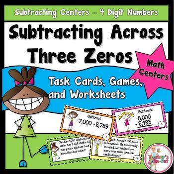 substraction across zeros worksheet
