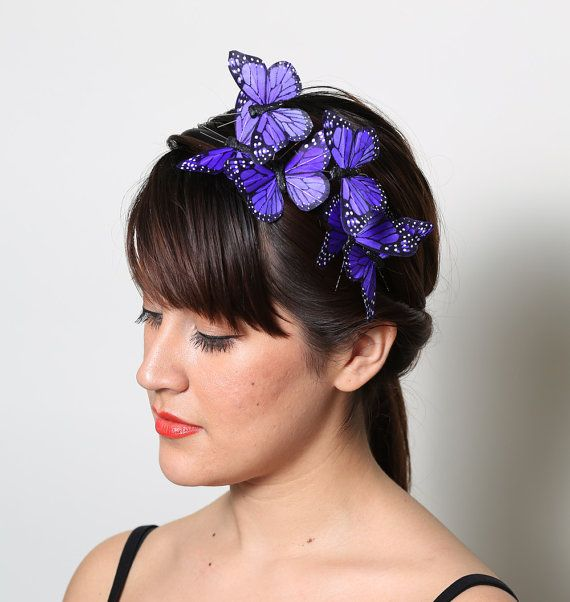 Purple Butterfly Headband  woodland fairy tale by neesiedesigns, $24.00