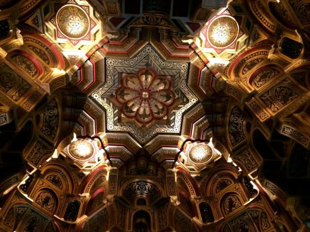 The stunning ceiling of the million dollar harem room in Cardiff Castle.