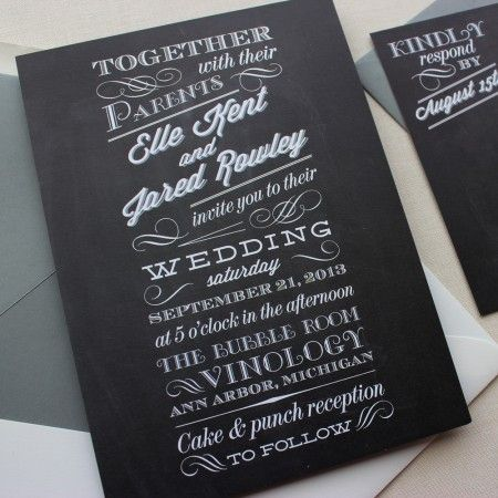 chalkboard inspired wedding invite