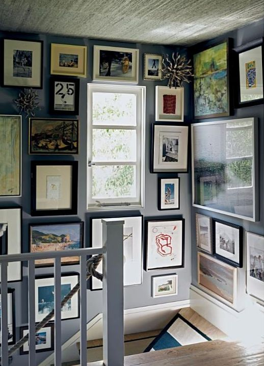 gallery wall up the stairs and to the ceiling!  #jeffreyalanmarks