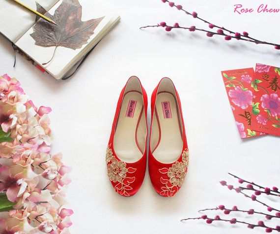 size39,40,41-red wedding shoes,lace wedding,bridal shoes,birthday gift,Chinese wedding,wedding flats,bridesmaid flats,for her,red flats,