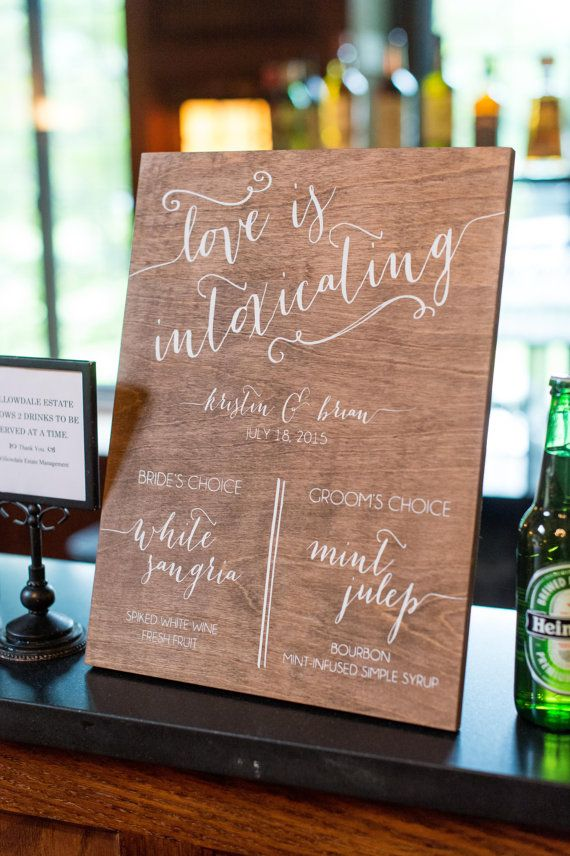 Best 25 wedding signature drinks ideas on pinterest blushing bar menu signature drinks with swirls wooden wedding signs wood junglespirit