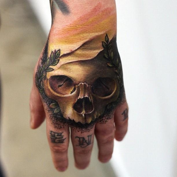 Sick skull tattoo on the hand by Mick Squires. Australian Tattoo Scene. #tattoos #ink