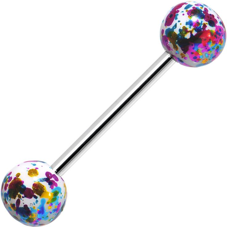 316L Steel Multicolored Enamel Metallic Splash Barbell Tongue Ring