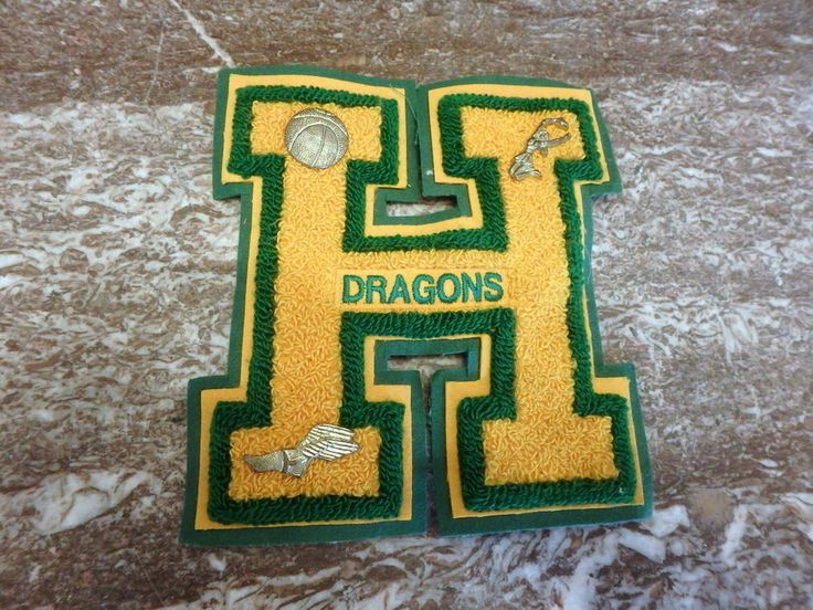 Letter H Letterman Jacket Patch Pins Holyoke Colorado Dragons