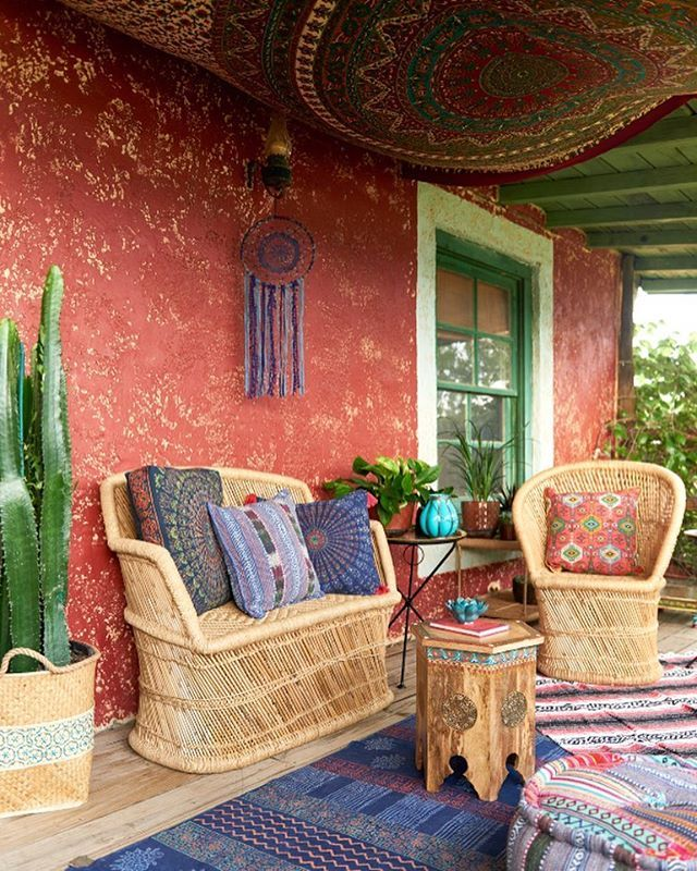 Porch of our dreams.  #bohoabodes #ihavethisthingwithtextiles #porch…                                                                                                                                                                                 More