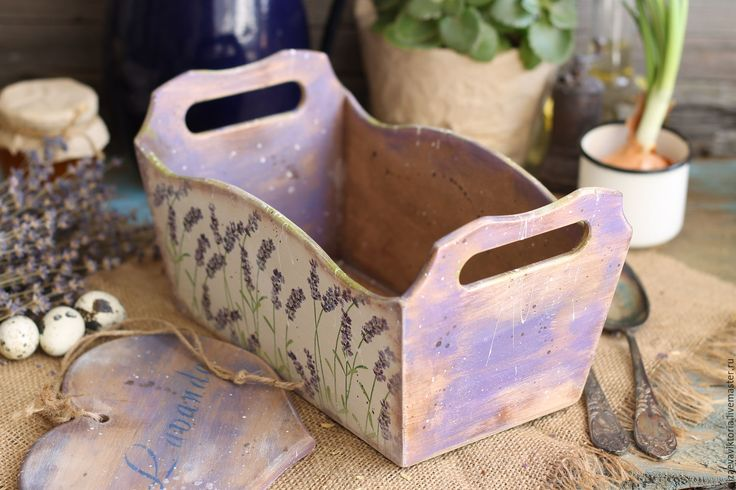 """Купить """"Lavender """" Ящичек + подвеска (фанера и дерево) - фиолетовый, ящик, Деревянный ящик"""