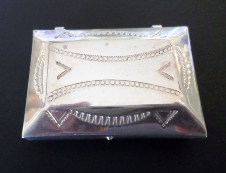 Sterling Silver Vintage Native American Navajo Pattern Small Pill Box. by Bestintreasures on Etsy