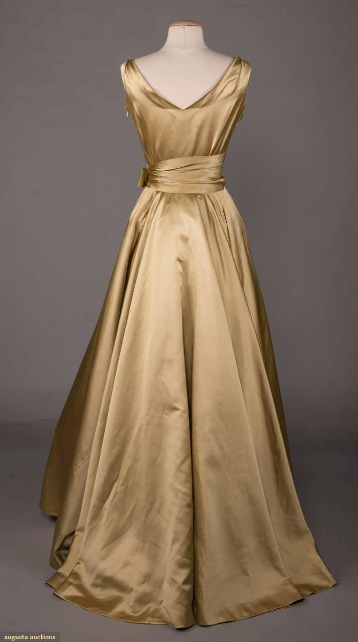 Historical Dress Satin Ballgown Madrid 1950s 1950s Silk Celery Vintage Formal Dresses Historical Dresses Gold Satin Dress [ 1290 x 720 Pixel ]