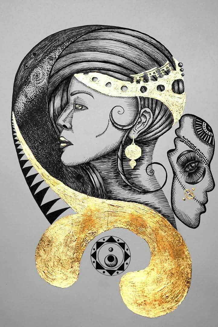 Reina del oriente. Rapidografos y laminilla de oro. Oscar_ilustra