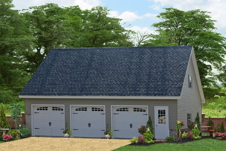 Detached 3 Car Garage with Widows | 22 E100-11157 24x40 Legacy Three Car Garage in Vinyl Vinyl: Clay, Trim ...