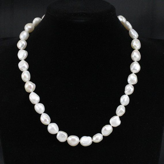 """cultured white gray coin fresh water pearl wedding necklace 18/"""" magnet clasp"""