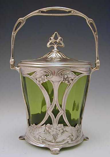 STUNNING RARE 19th.CENTURY W.M.F. ART NOUVEAU GREEN GLASS COVERED BISCUIT BARREL