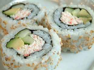 CALIFORNIA CRAB ROLLS (SUSHI) ==Ingredients== 4 c sushi rice (cooked), 1 pkg nori sushi wrappers, 1 medium avocado, 1 medium cucumber, 1 c crabmeat or (deli crab salad), 2 T mayonaise, 1 t salt, 1 medium bowl of water (to dip you fingers so it don't stick), 1 bottle furikake (seaweed rice sprinkler), 2 T red pickles ginger (for garnish), 4 T rice vinegar, 1 t sugar, 1/4 c water (more or less), 1 pinch salt ====