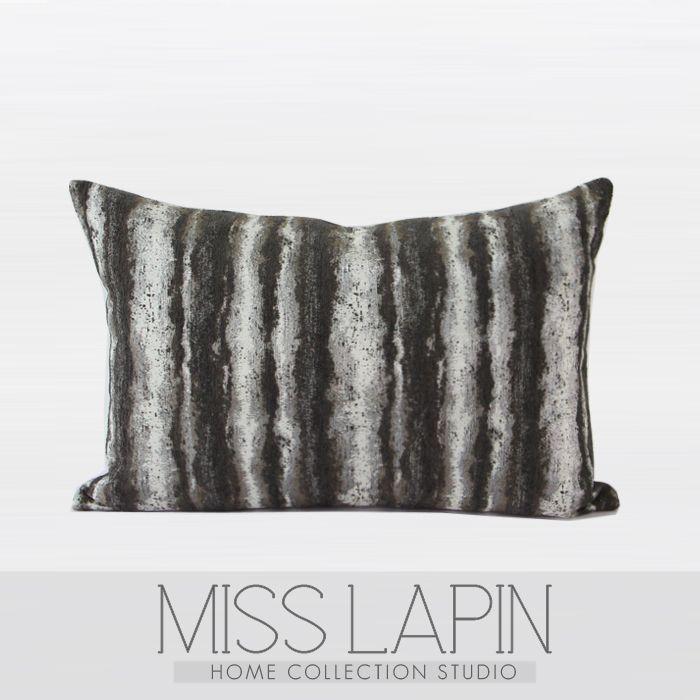 MISS LAPIN/简约现代/沙发/高档抱枕/咖色雪尼尔三色提花条纹腰枕/布艺-淘宝网