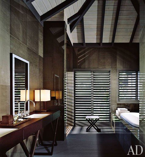 Giorgio Armani, Antigua - the walls are covered in a wood laminate protected by sheets of glass.