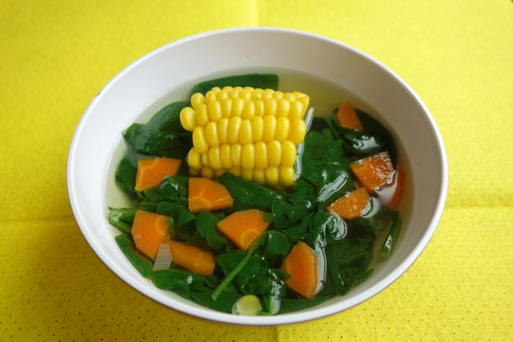 Sayur Bayam/Sayur Bening.Indonesian spinach soup. Its famous vegetable soup in all places in java, indonesia. Sometime have different variant vegetable in this soup, corn/carrot/ gourd/white pumpkin/squashlike/tomato/basil. Different version resulting different taste and aroma. One of a homey dish for indonesian people.