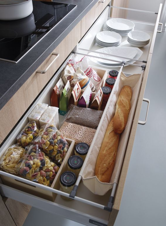 SANTOS kitchen   The plate rack helps organise the china, the modular boxes increase the storage capacity. The baguette bag offers a functional solution for storing the bread.