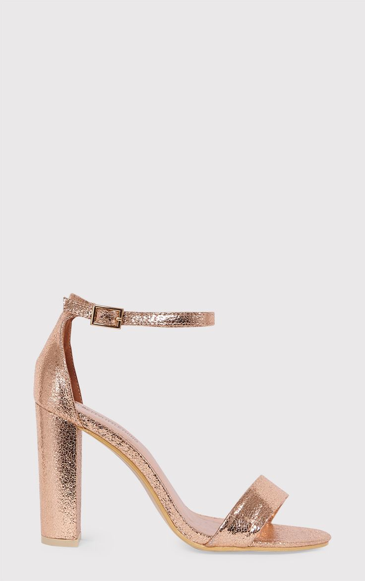 May Rose Gold Block Heeled Sandals Image 1